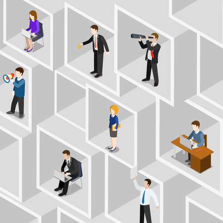 spyglass: Flat 3d isometric business people professional diversity web infographic concept vector. Different professions businessman businesswoman square room slot wall. Secretary PA manager bookkeeper etc. Illustration
