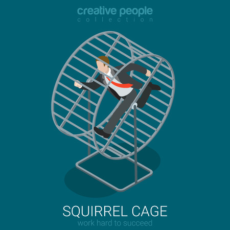 metaphoric: Flat 3d isometric style busy hard work concept web infographics vector illustration. Businessman in squirrel cage running. Creative people collection. Illustration