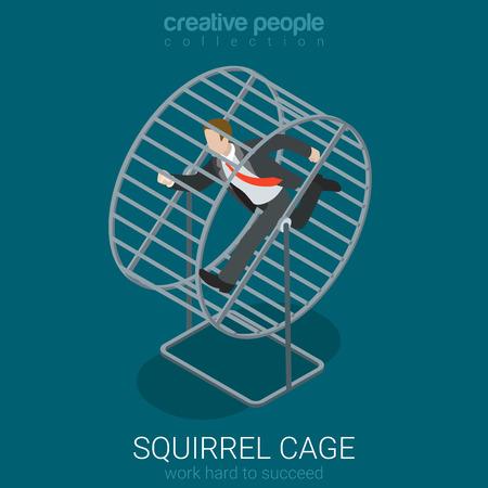 trabajando duro: ocupada concepto de trabajo plana ilustración 3D isométrica estilo duro infografía web vectorial. El hombre de negocios en el funcionamiento de jaula de ardilla. personas colección creativa.