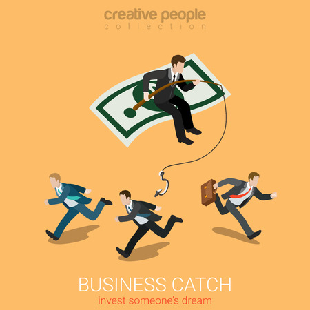 catch: Flat 3d isometry isometric business catch invest dream concept web infographics vector illustration. Businessman on dollar carpet fishing smaller startuppers. Creative people collection.