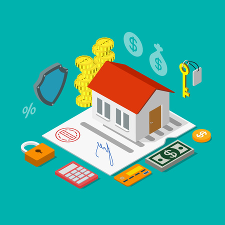 isometry: Flat 3d isometry isometric home mortgage credit loan icon concept web app infographics vector illustration. House on contract certificate calculator coin key dollar money credit card. Illustration