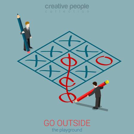 metaphoric: Flat 3d isometric style go outside playground plan rules concept web infographics vector illustration. Micro businessmen playing tic-tac-toe zero out of field. Creative people collection.
