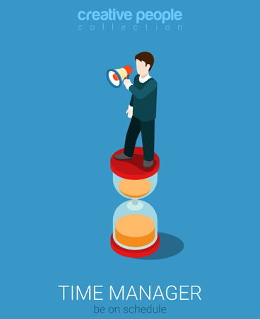 3d manager: Flat 3d isometry isometric time management manager concept web infographics vector illustration. Micro businessman with loudspeaker on big hyperbolic hourglass. Creative people collection. Illustration