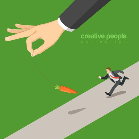 correr: isométrica estilo 3D plana atrapar la ilustración concepto de negocio cebo infografía web vectorial. Micro carrera de negocios después de zanahoria gran mano. Las personas creativas página web colección conceptual.
