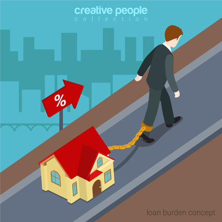 financial burden: Flat 3d isometric style loan burden financial business concept web infographics vector illustration. Businessman going up hill chained to micro house. Creative people website conceptual collection. Illustration