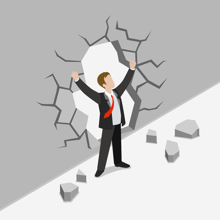 hardness: Flat 3d isometric obstacle overcome business concept web infographics vector illustration. Businessman crack concrete wall rising hands winner. Creative people collection.