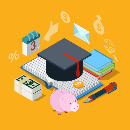 web cap: Flat 3d isometry isometric education knowledge tuition fee credit loan savings icon concept web app infographics vector illustration. Graduate cap on notebook exercise book dollar money schedule.