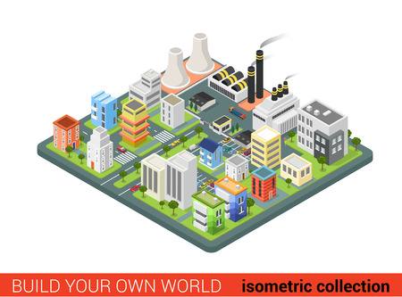isometry: Flat 3d isometric style city power energy industrial labor sleeping dormitory district concept web infographics vector illustration. Creative architecture collection. Illustration
