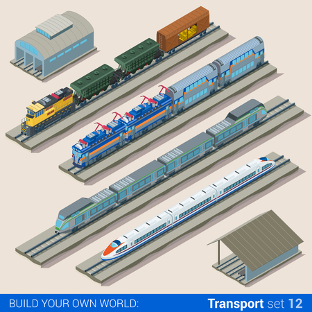 depot: Flat 3d isometric style set of train depot web infographics vector illustration. Creative people website conceptual collection.