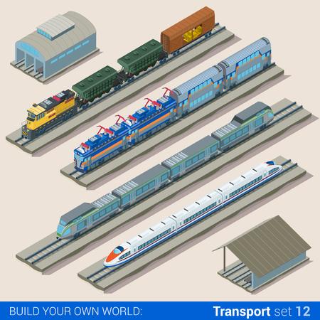 Piso 3d juego de estilo isométrico del depósito de trenes ilustración vectorial infografía web. Las personas creativas página web colección conceptual. Ilustración de vector