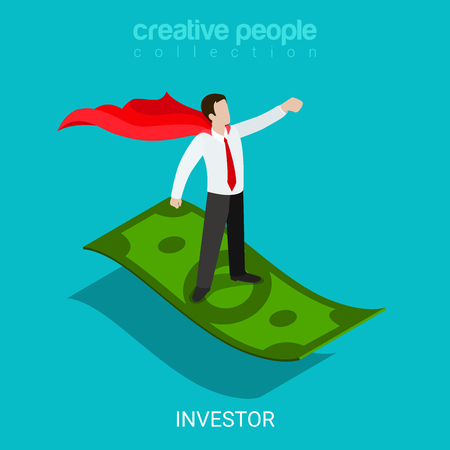 investor: Flat 3d isometric investor funding evangelist concept web infographics vector illustration. Super hero businessman fly on dollar carpet plane. Creative people collection. Illustration