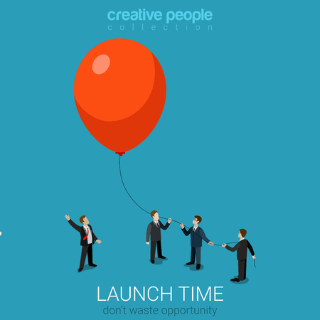 Flat 3d isometric style business launch start up concept web infographics vector illustration. Businessmen group fly balloon up. Creative people website conceptual collection.