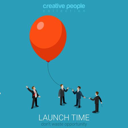 Lancement commercial plat isométrique 3d style démarrage illustration vectorielle de concept web infographie. Groupe d'hommes d'affaires voler ballon. Collection conceptuelle de site Web de personnes créatives.