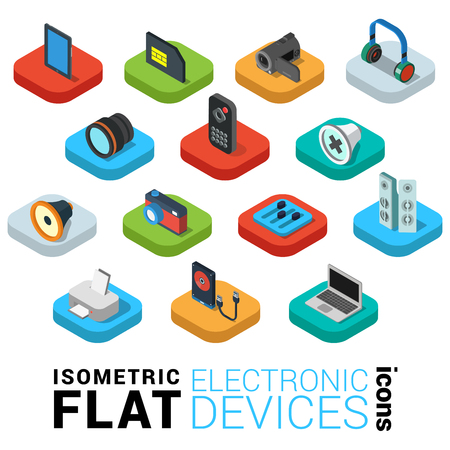 Flat 3d isometric trendy style electronics devices web mobile app infographics icon set. Tablet SIM card camcorder headphones lens remote printer external HDD laptop. Website application collection.