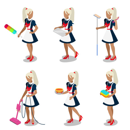 servant: Flat 3d isometric sexy young swarthy brown female housemaid maid maidservant chambermaid cleaner servant concept web infographics vector illustration icon set. Creative people collection.