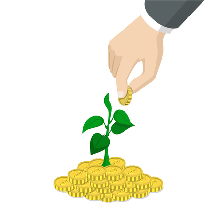 financial diversification: Flat 3d isometric style time invest grow business start up concept web infographics vector illustration. Big hand throw coin into heap growing sprout. Creative people website conceptual collection.