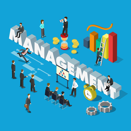 whiteboard: Flat 3d isometric management concept web infographics vector illustration. Micro businessmen group big management word key indicator graphic corporate meeting whiteboard. Creative people collection.