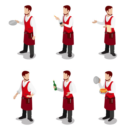 servant: Flat 3d isometric young stylish male cook waiter sommelier cafe restaurant servant concept web infographics vector illustration icon set. Creative people collection.