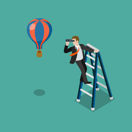 Flat 3d isometric future look forecast concept web infographics vector illustration. Businessman on stepladder looking through binoculars on balloon. Creative people collection. Vectores