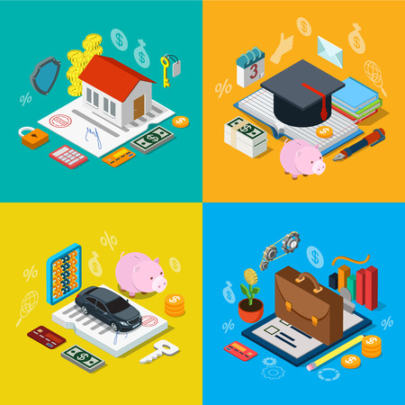metaphoric: Flat 3d isometric home mortgage tuition fee credit car loan plan equity stock exchange portfolio icon set concept web infographics vector illustration. Financial banking knowledge education estate Illustration