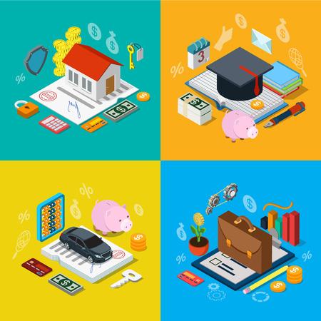 Flat 3d isometrische hypotheek collegegeld krediet auto lening van plan aandelen beurs portfolio icon set begrip web infographics vector illustratie. Financiële bancaire kennis onderwijs goed