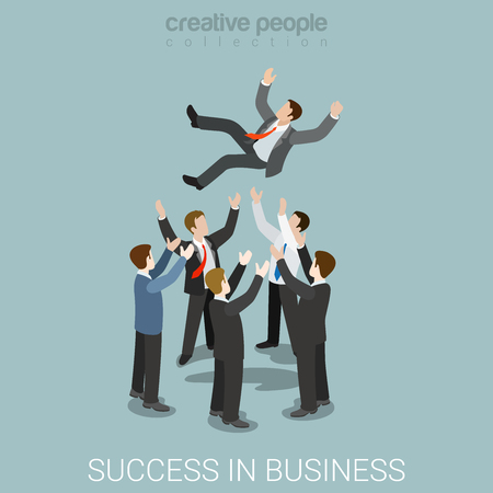 Flat 3d isometric style success in business concept web infographics vector illustration. Man throw toss up hands. Creative people website conceptual collection.