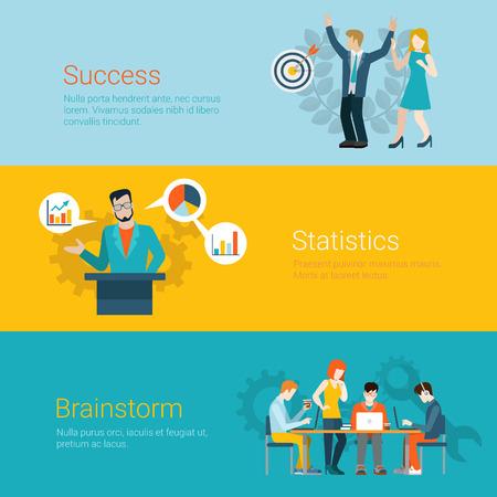 tribune: Flat style website slider banner success statistics brainstorming concept web infographics. Couple joy dancing arrow hit target, tribune speaker data graphic, team meeting room brainstorm vector.