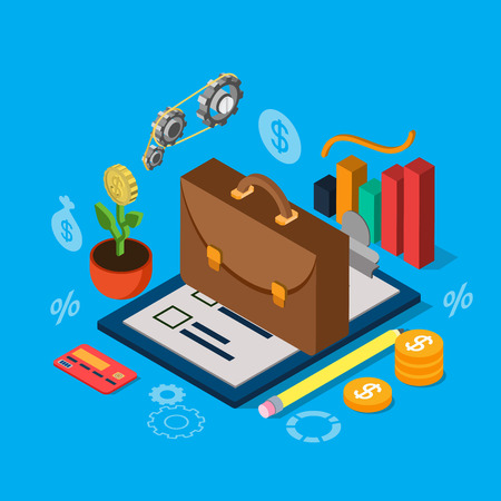 equity: Flat 3d isometric equity stock exchange investment portfolio icon set concept web infographics vector illustration. Briefcase on checklist graphic credit card coin cogwheel mechanism plant. Illustration