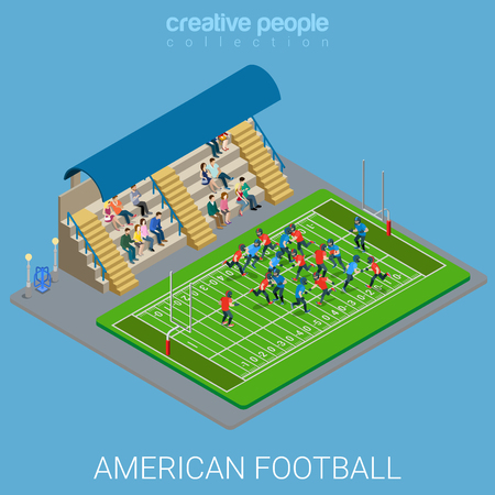 sports team: Flat 3d isometric style american football stadium arena concept web infographics vector illustration. Team sports play playground match. Creative people collection.