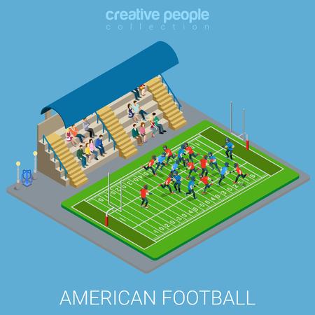 team sports: ilustración plana 3D isométrica estilo americano estadio de fútbol Arena infografía concepto de web de vector. Los deportes de equipo juegan partido de patio de recreo. personas colección creativa.