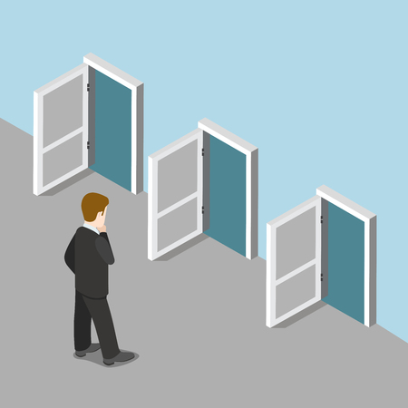 Flat 3d isometric way out business solution choice concept web infographics vector illustration. Businessman standing before three opened doors thinking which to enter. Creative people collection.