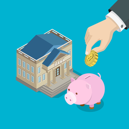 mine data: Bitcoin investment savings flat 3d isometry isometric concept web infographics vector illustration. Big hand put bit coin into piggy bank money box. Creative people collection. Illustration