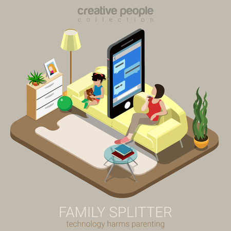 Flat 3d isometry isometric family splitter social parenting concept web infographics vector illustration. Big smartphone sofa between mom daughter lack deficit attention. Creative people collection.