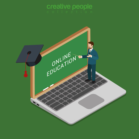 apple computer: Flat 3d isometric style online course education internet technology concept web infographics vector illustration. Male teacher stand on laptop point screen blackboard. Creative learning collection.