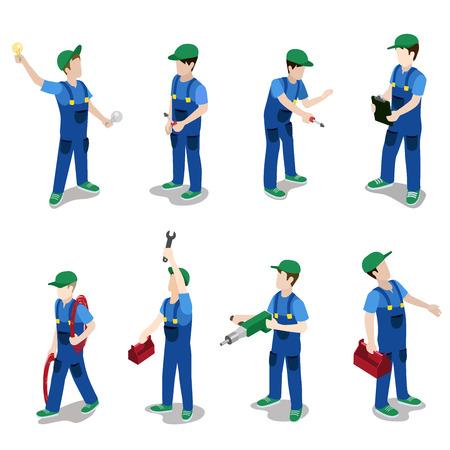 Piatto 3d isometrico idraulico elettricista meccanico servizio di riparazione auto icona lavoratore set illustrazione infografica concetto di web vettoriale. persone collezione creativa.
