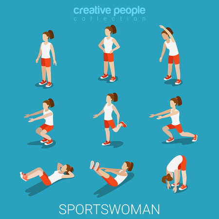 female athlete: Flat 3d isometric style sportswomen male sport concept web infographics vector illustration icon set. Exercise female athlete abstract outdoor. Creative people collection.