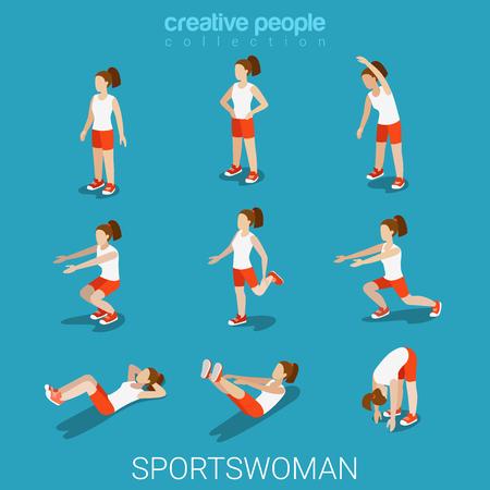 mujer deportista: Piso 3d deportistas isométrica estilo deportivo del concepto de ilustración vectorial infografía web conjunto de iconos masculinos. Ejercicio de la mujer atleta aire libre. personas colección creativa. Vectores
