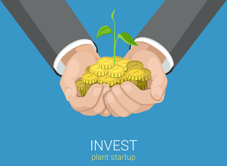 hand with money: Flat style grow business investment concept web infographics vector illustration. Growing plant in hands handful coins. Creative people collection. Illustration