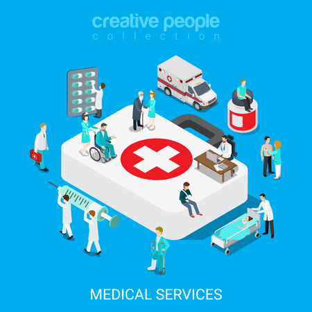 palanquin: Flat 3d isometric medical services doctor nurse first aid concept web infographics vector illustration. Big case micro hospital staff pill syringe evacuation ambulance icon. Creative people collection