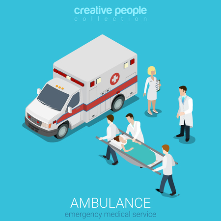 Flat 3d isometric style ambulance emergency medical evacuation accident concept web infographics vector illustration. Orderlies carry patient stretcher. Creative people website conceptual collection. Illustration