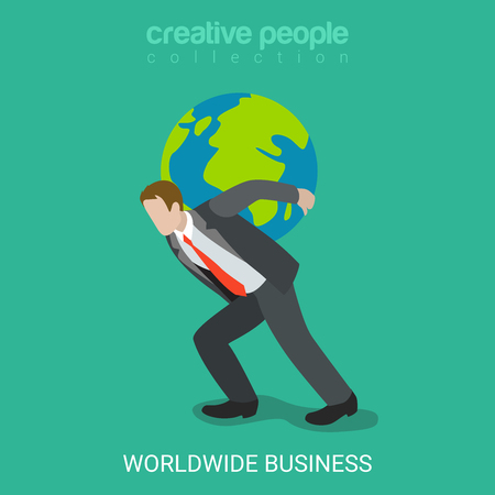 Flat 3d isometric worldwide business concept web infographics vector illustration. Businessman carry whole world globe on his shoulders Sisyphean toil task. Creative people collection.
