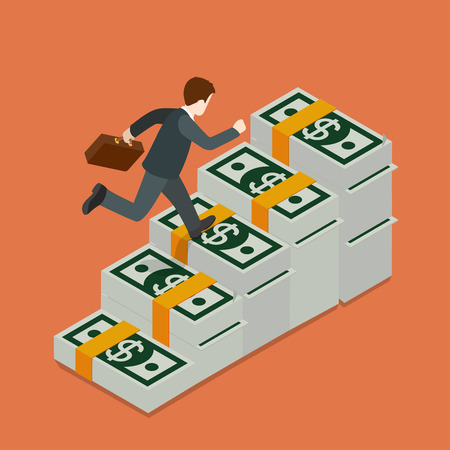 metaphoric: Flat 3d isometric growing wealth concept web infographics vector illustration. Businessman running up on dollar banknote ladder. Creative people collection.