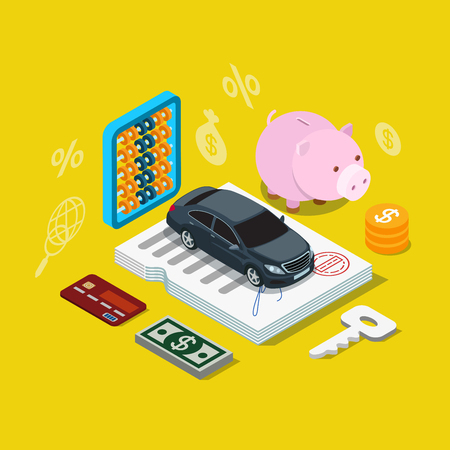 transport icons: Flat 3d isometry isometric car credit loan financing plan icon concept web app infographics vector illustration. Car on contract certificate coin key dollar money credit card.