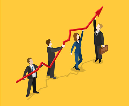 Flat 3d isometric profit indicator growth concept web infographics vector illustration. Businesspeople holding rising red graphic line with arrow. Creative people collection.