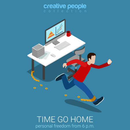 business time: Flat 3d isometric style time go home business concept web infographics vector illustration. Man worker braking chains running out. Creative people collection.