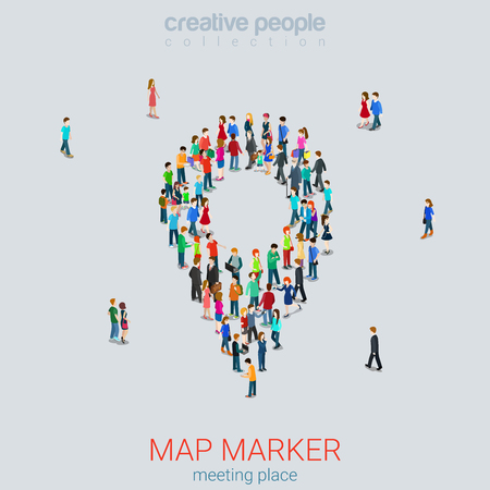 metaphoric: Map pin sign shape casual micro people crowd flat 3d web isometric infographic concept vector. Creative people collection.