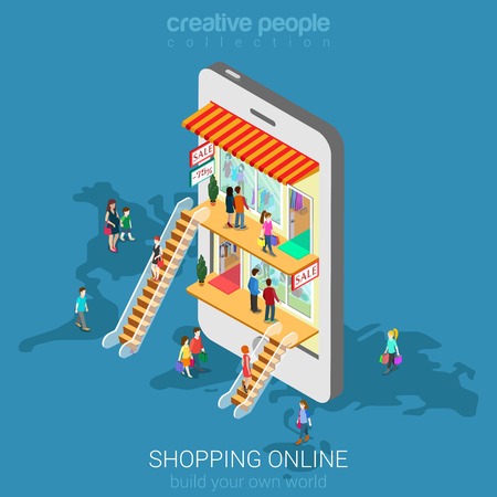 shop floor: Mobile shopping e-commerce online store flat 3d web isometric infographic concept vector and electronic business, sales, black friday. People walk on floors in stores boutiques like inside smartphone.