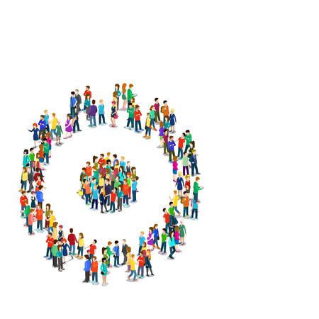metaphoric: Flat 3d isometric style cogwheel connection social engineering concept web infographics vector illustration crowded square. Crowd group forming cog wheel sign shape. Creative people collection.