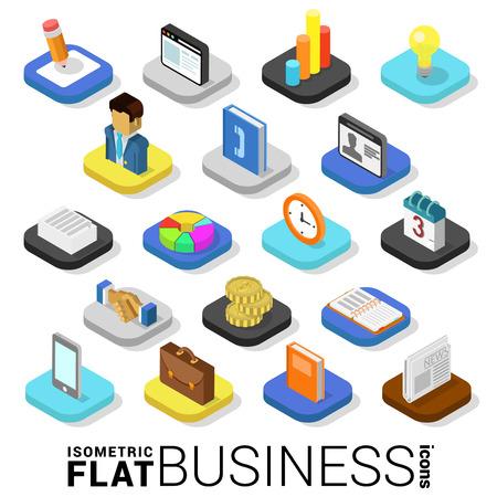 Flat 3d business finance de style branché isométrique web argent mobile app infographies icon set. collection d'applications de site Web.