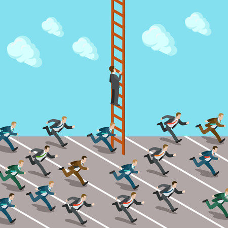 metaphoric: Flat 3d isometric business rush ladder success concept web infographics vector illustration. Creative people collection. Businessmen crowd race one climbs up. Illustration